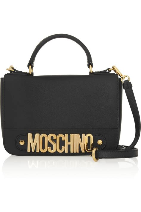 moschino textured leather shoulder bag in black lyst