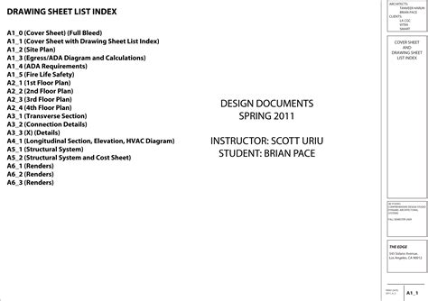 a1 1 cover sheet with drawing sheet list index brian pace