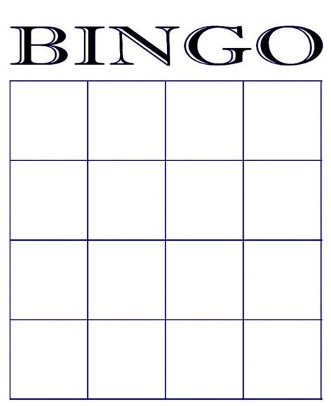 bingo standard card template free blank bingo card template printable