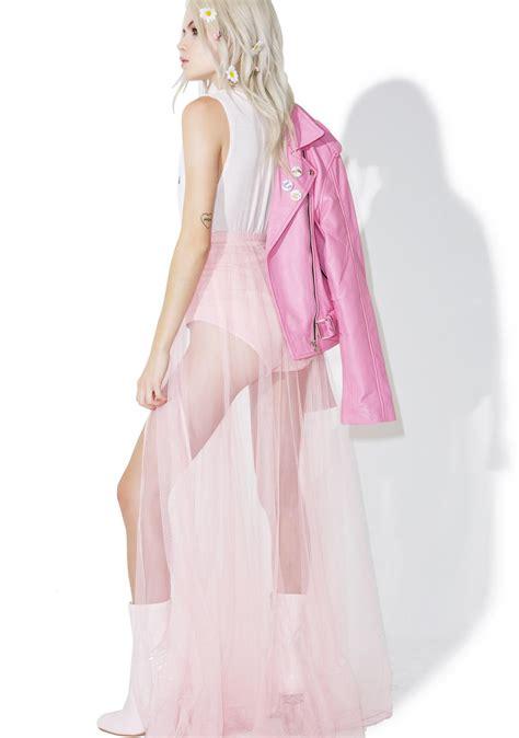 Kbmaxi Lucia Pink sheer pink ballet maxi skirt dolls kill
