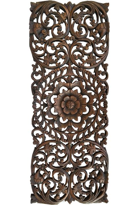 wood carved decorative wall plaque floral wood carved wall panel wood wall decor for sale