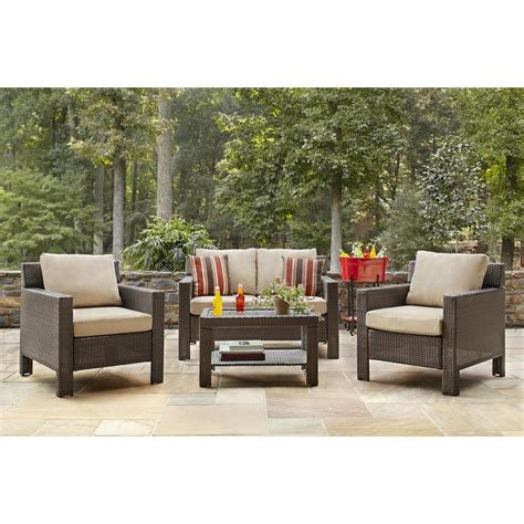 Patio Furniture Seating Sets Hton Bay Beverly 4 Patio Seating Set With Beverly Beige Cushions 65 910233b The