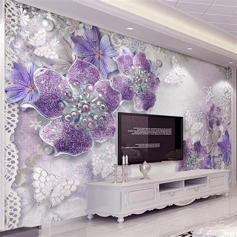 home decor wallpaper design home design and style european style purple flower jewelry 3d photo mural