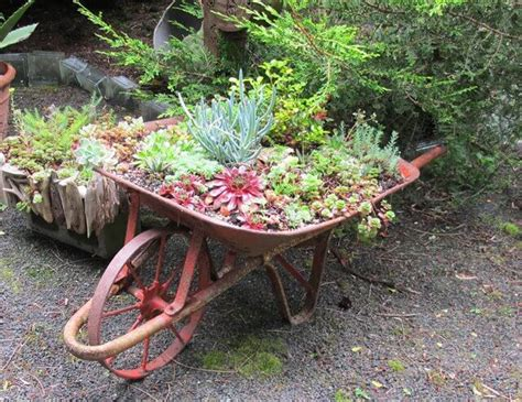 diy wooden wheelbarrow planter