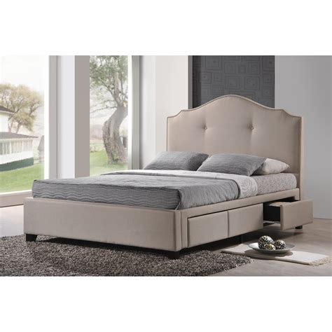 upholstered bed with storage baxton studio armeena upholstered storage platform bed