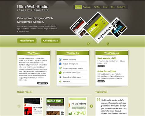 themes for html page ultra web studio wp template