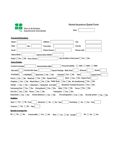 auto insurance quote form template 44billionlater