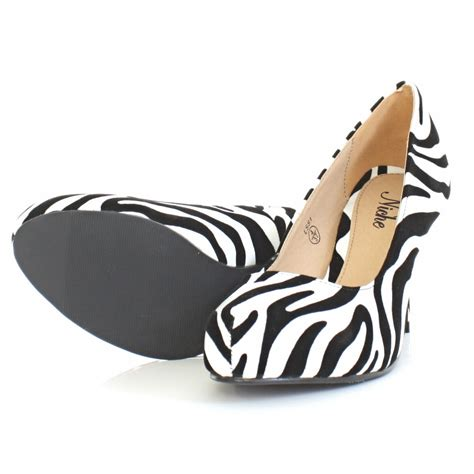 womens low heel zebra animal print kitten court shoes size 3 8 ebay