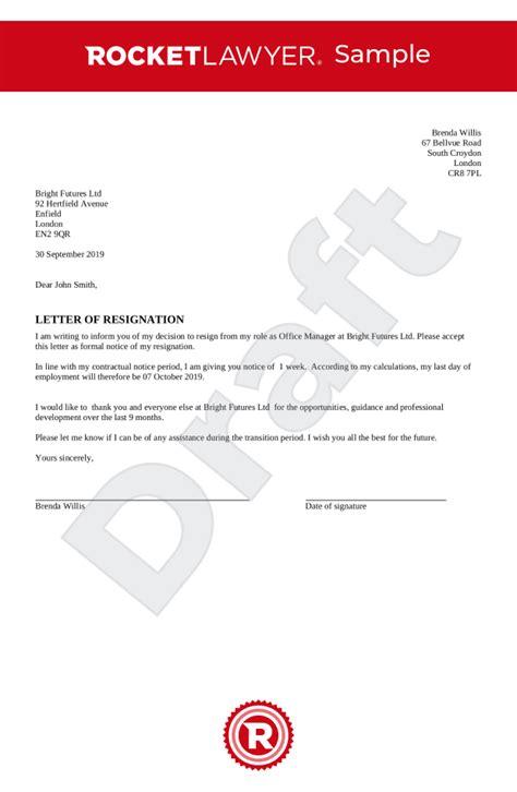 resignation letter uk template