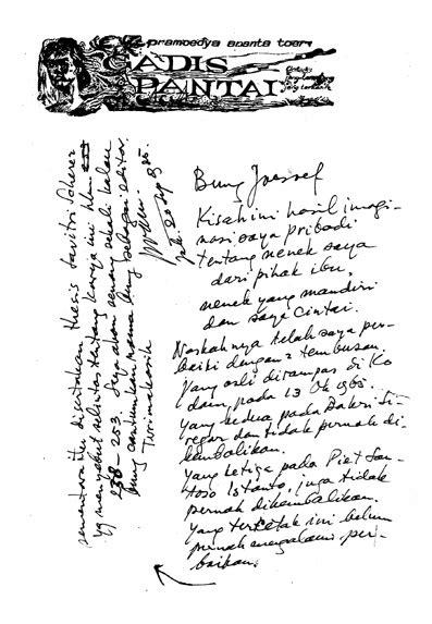 layout naskah novel joesoef sebagai editor pramoedya novelis calon penerima nobel