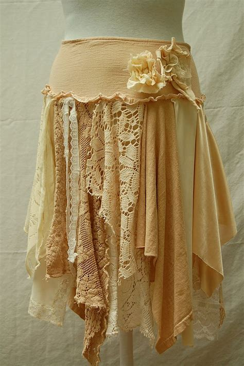 tattered lace fairy woodland skirt funky hippie boho mori girl shabby cottage chic eco