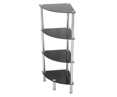 Corner Glass Shelf Unit by 4 Tier Corner Black Glass Shelving Unit Tv Furniture Direct