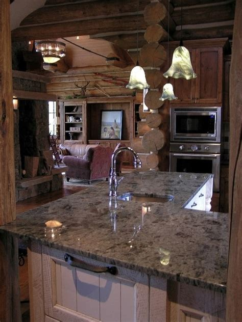 koselig log cabin interior photo contemporary kitchen denver  teton heritage builders