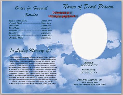 free funeral program template funeral program template search results calendar 2015