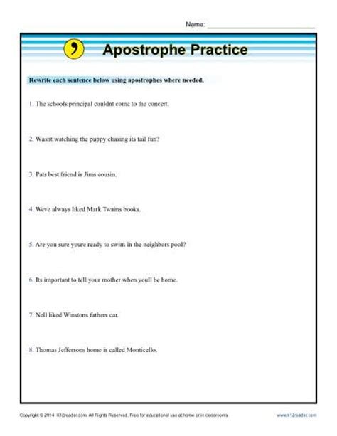 apostrophe worksheets apostrophe practice punctuation worksheets