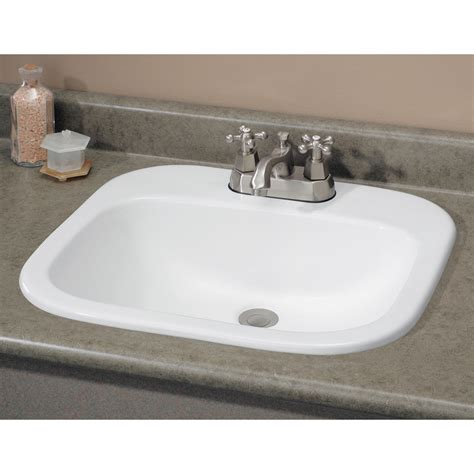 how to install drop in bathroom sink shop cheviot ibiza white drop in rectangular bathroom sink