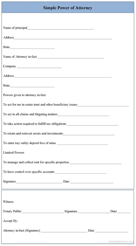 Simple Power Of Attorney Form Sle Forms Simple Power Of Attorney Form Template