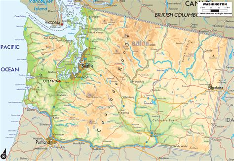 a physical map of washington physical map of washington ezilon maps