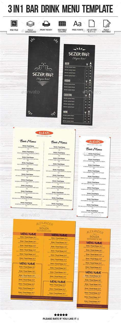 Graphicriver Drink Menu 6067589 187 Dondrup Com Restaurant Drink Menu Template