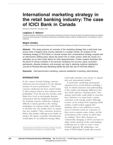 icici bank policy international marketing strategy in the retail banking