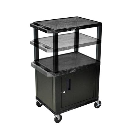 Multi Shelf Cart by Luxor Wt2642c2e B Black 3 Shelf Multi Height Cart With
