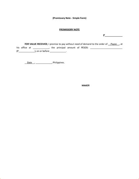 Basic Promissory Note It Resume Cover Letter Sle Simple Promissory Note Template