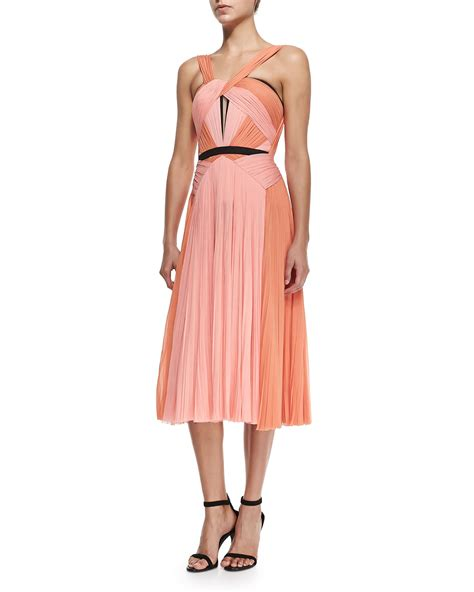 dress pattern ruched bodice j mendel a line dress w draped ruched bodice in orange