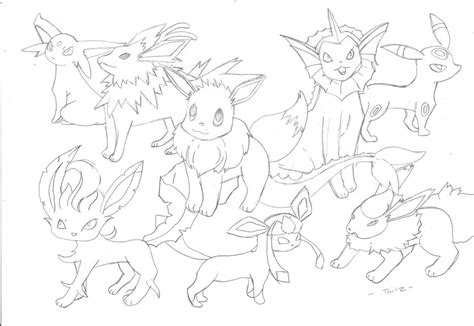 pokemon coloring pages eevee evolutions together eevee evolution by names tailz on deviantart