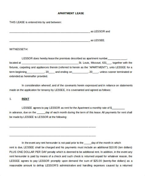 Printable Blank Lease Agreement Form 17 Free Word Pdf Apt Lease Template