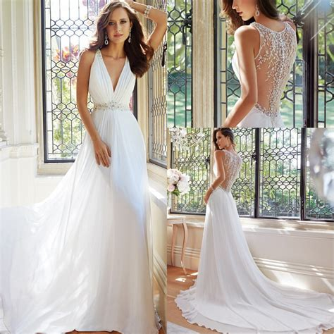 simple elegant  women summer wedding dresses flowing