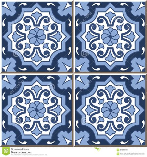 retro pattern wall tiles vintage seamless wall tiles of blue tone round flower