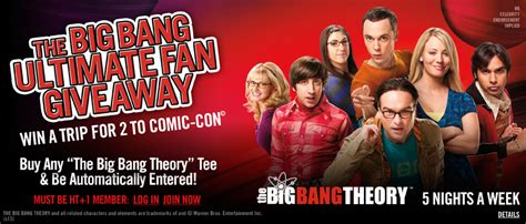 Big Bang Theory Weeknights Sweepstakes - hot topic and the big bang theory want to send you to comic con when nerds attack