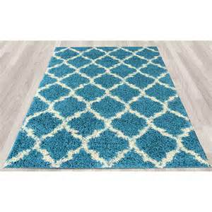Turquoise Area Rug Ottomanson Ultimate Moroccan Trellis Soft Turquoise Shaggy Area Rug Reviews Wayfair