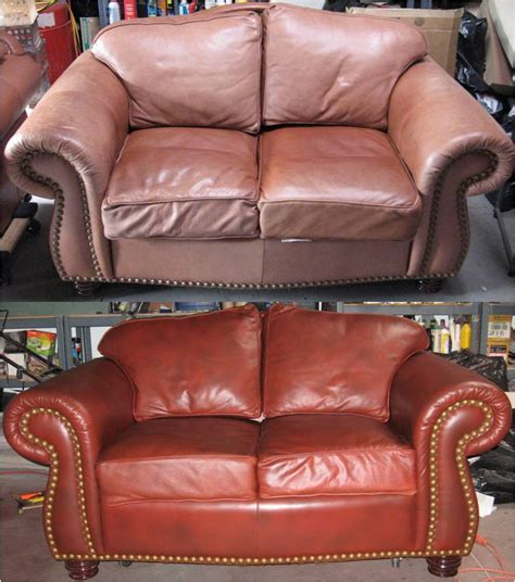 Re Dyeing Leather Sofa by Leather Sofa Color Restoration Before And After Gallery