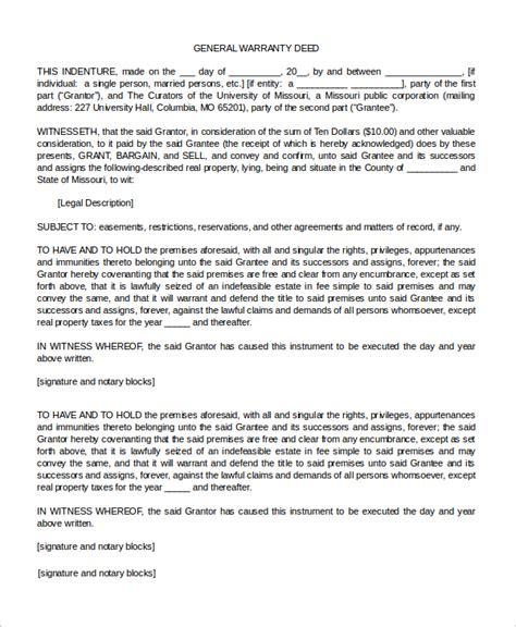 warranty deed form sle warranty deed form 10 exles in word pdf