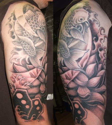 black and grey koi rites of passage tattoo