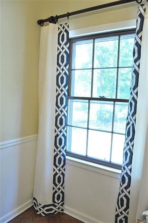 white curtains blue trim navy and cream trellis drapes great idea to trim out
