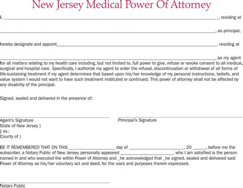 Free New Jersey Medical Power Of Attorney Form Pdf 26kb 1 Page S Power Of Attorney Template Nj