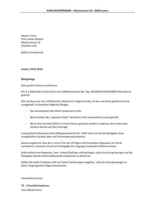 Brief Mängelrüge Wohnung Vorlage M 228 Ngelr 252 Ge Muster Vorlage Ch