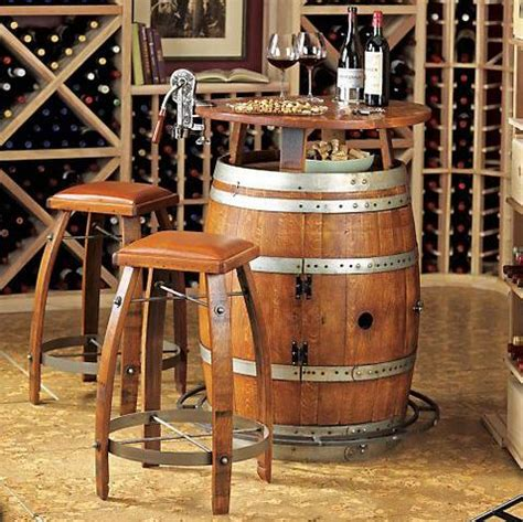 Barrel Table And Chairs by Vintage Oak Wine Barrel Turned Home Bar Adds A Touch Of