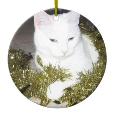 white cat christmas tree ornament zazzle
