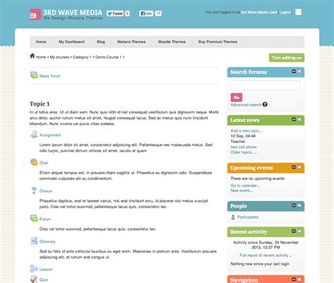 moodle course template how to set a different theme for a moodle course
