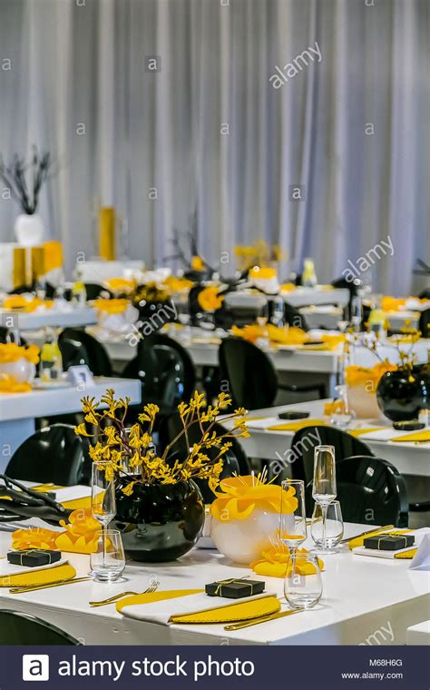 black and white dinner table setting yellow black and white table setting and decor for gala