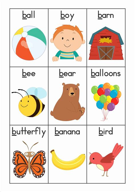 Name Letter B free phonics letter of the week b vocabulary or word wall