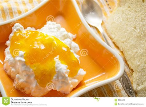 cottage cheese with jam stock photo image 23856830