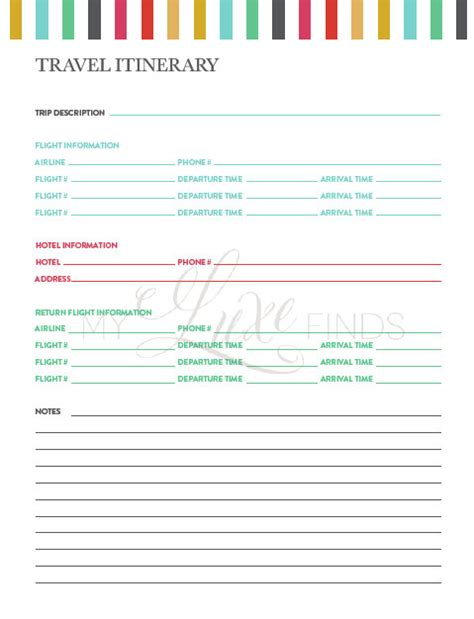 printable itinerary planner travel itinerary notes information printable home