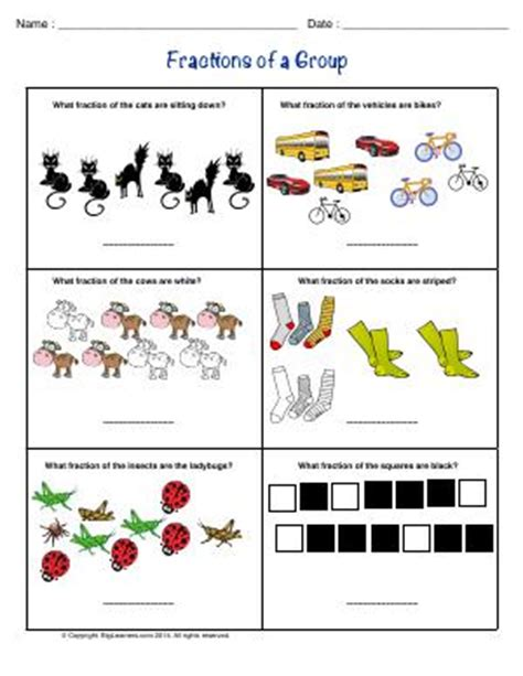worksheets fractions of groups parts of a whole second grade math worksheets biglearners