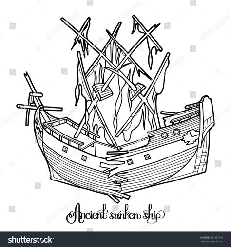 broken boat cartoon ancient broken sunken ship graphic vector stock vector