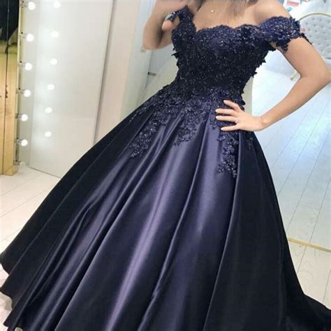 navy blue ball gown prom dress ball gown off the shoulder navy blue satin prom dress with