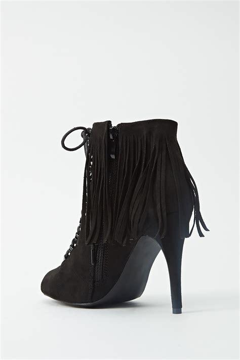 peep toe fringe boots peep toe fringe ankle boots just 163 5